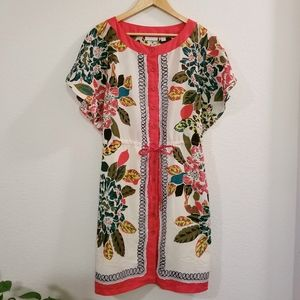 New York & Co. Tropical Floral Tie Shirt Dress